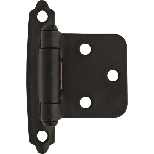 Amerock Functional Hardware Flat Black Self-Closing Face Mount Variable Overlay Hinge (2 Pack)