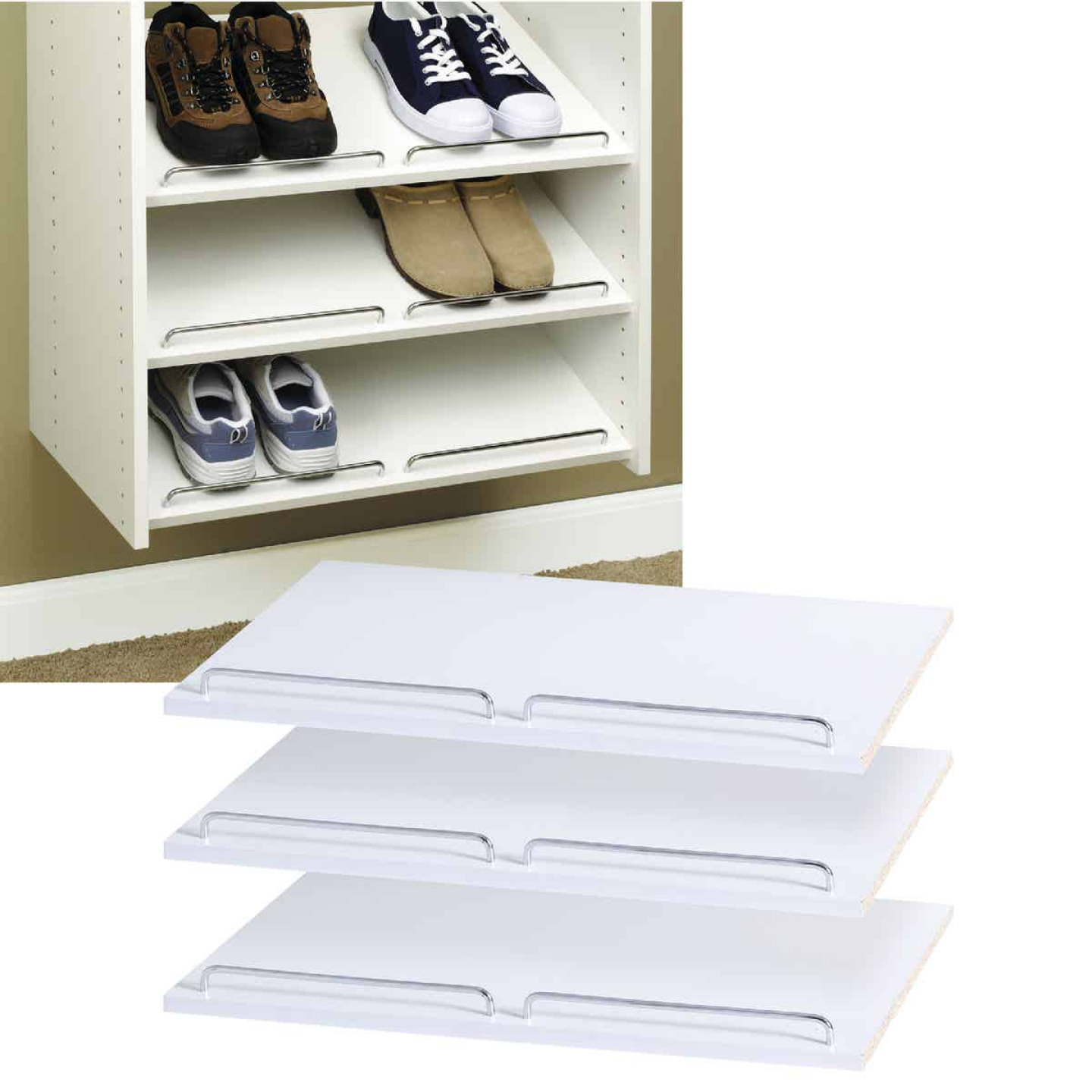 Easy Track 2 Ft. W. x 14 In. D. Laminated Shoe Shelf, White (3-Pack) Image 1