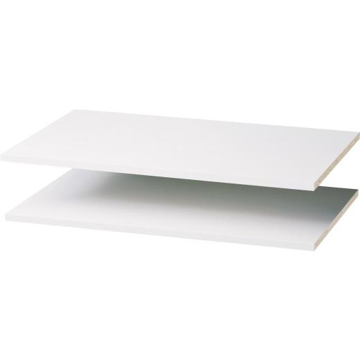 Easy Track 3 Ft. W. x 14 In. D. Laminated Closet Shelf, White (2-Pack)