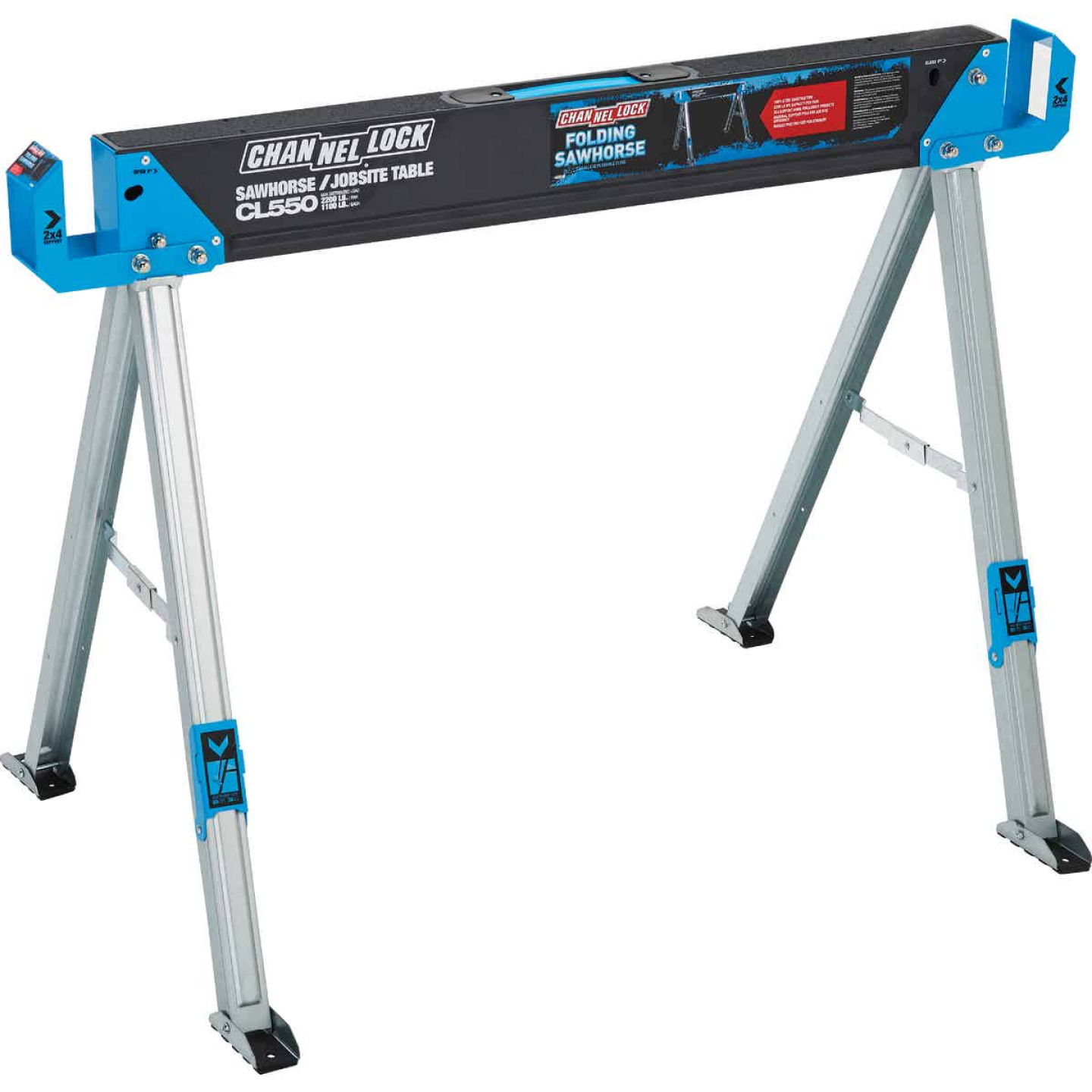 Channellock 46-1/2 In. L Steel Folding Sawhorse, 2200 Lb. Capacity Image 1