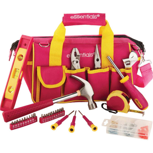 Essentials Around-the-House Homeowner's Tool Set with Pink Tool Bag (32-Piece)