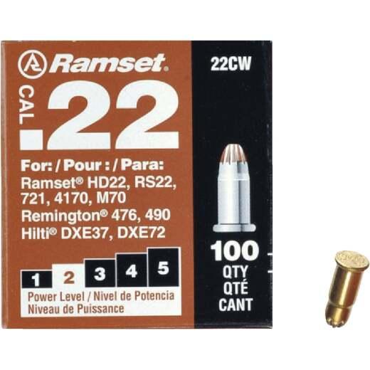 Ramset .22 Caliber Level 2 Brown Powder Load (100 Pack)