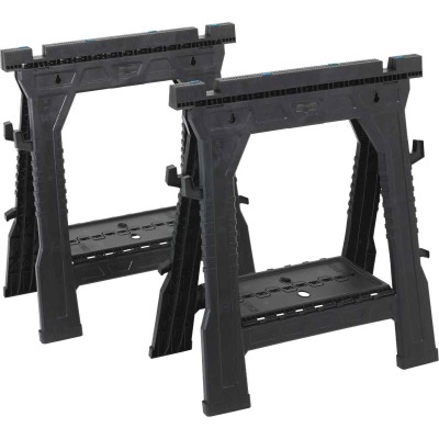Channellock 27 In. L Plastic Folding Sawhorse Set, 1000 Lb. Capacity (2-Pack)