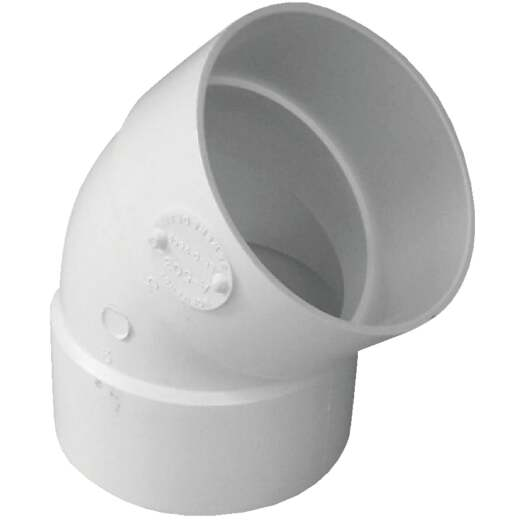 IPEX Canplas SDR 35 45 Degree 3 In. PVC Sewer and Drain Elbow (1/8 Bend)