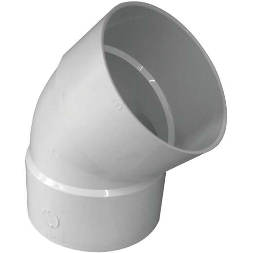 IPEX Canplas SDR 35 45 Degree 6 In. PVC Sewer and Drain Elbow (1/8 Bend)