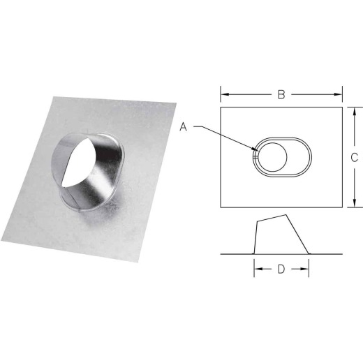 SELKIRK 4 In. RV Gas Vent Adjustable Roof Flashing