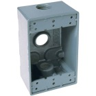 Bell Single Gang 3/4 In. 3-Outlet Gray Aluminum Weatherproof Electrical Box Image 1