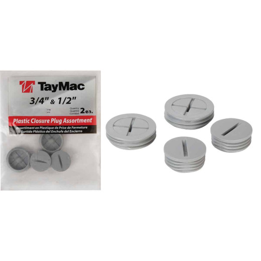 TayMac 1/2 In, 3/4 In. Weatherproof Gray Outdoor Closure Plug (4-Pack)