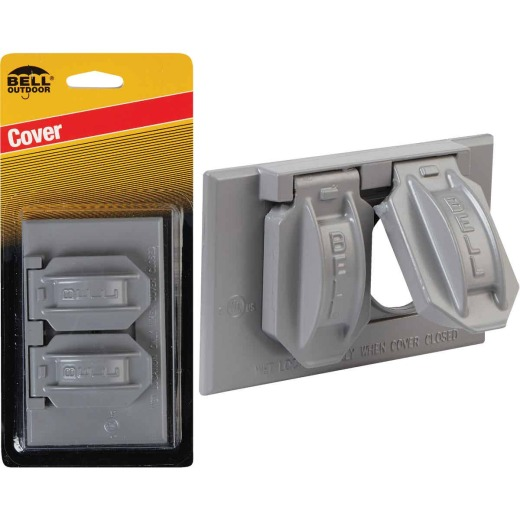 Bell Horizontal Duplex Aluminum Gray Weatherproof Outdoor Outlet Cover, Carded