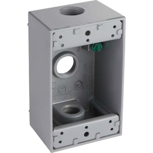 Bell Single-Gang 1/2 In. 3-Outlet Gray Aluminum Weatherproof Outdoor Outlet Box, Shrink Wrapped