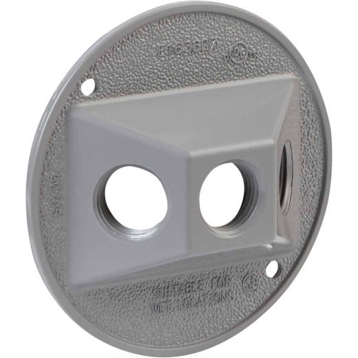 Bell 3-Outlet Round Zinc Gray Cluster Weatherproof Outdoor Box Cover, Shrink Wrapped