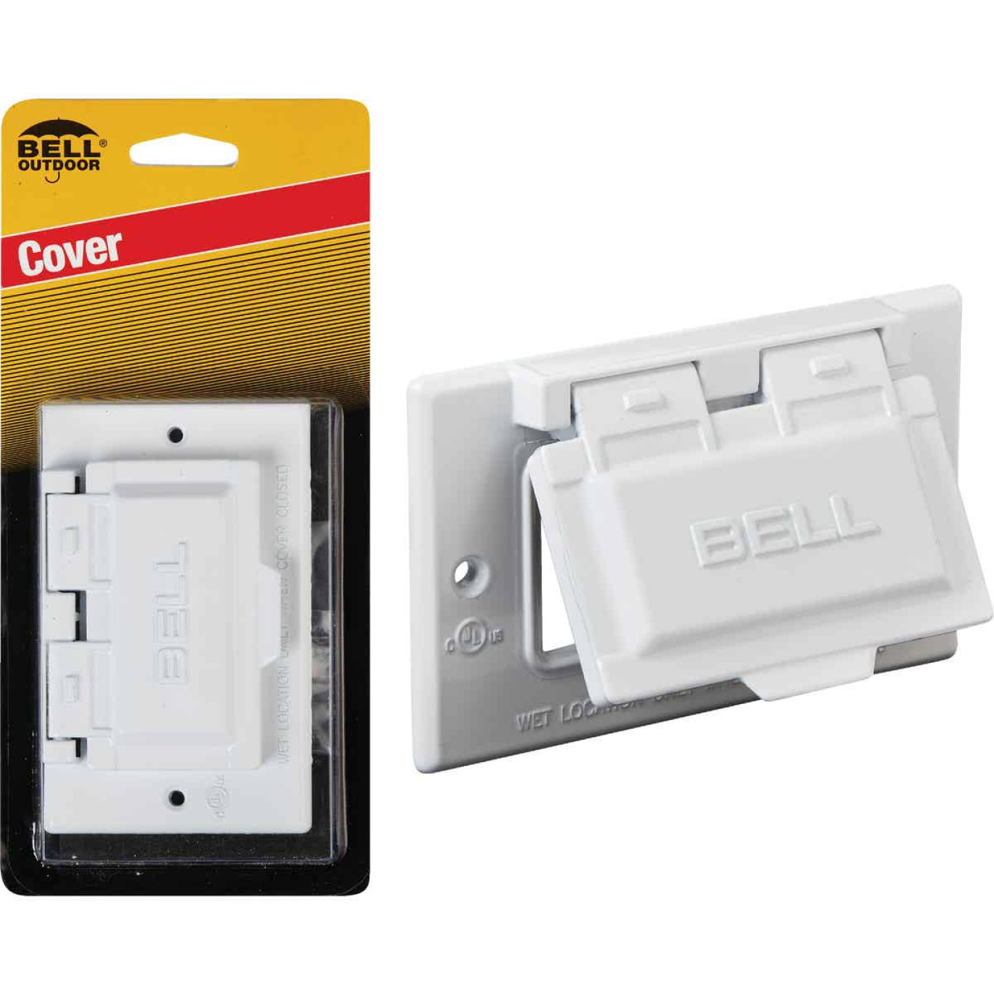 Bell Single Gang Horizontal GFCI Aluminum White Weatherproof Outdoor Electrical Cover Image 1