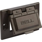 Bell Single Gang Horizontal GFCI Aluminum Bronze Weatherproof Outdoor Electrical Cover Image 3