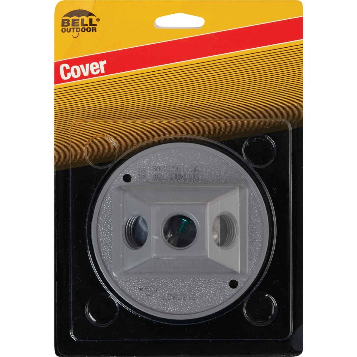 Bell 3-Outlet Round Zinc Gray Cluster Weatherproof Outdoor Box Cover, Carded Image 2