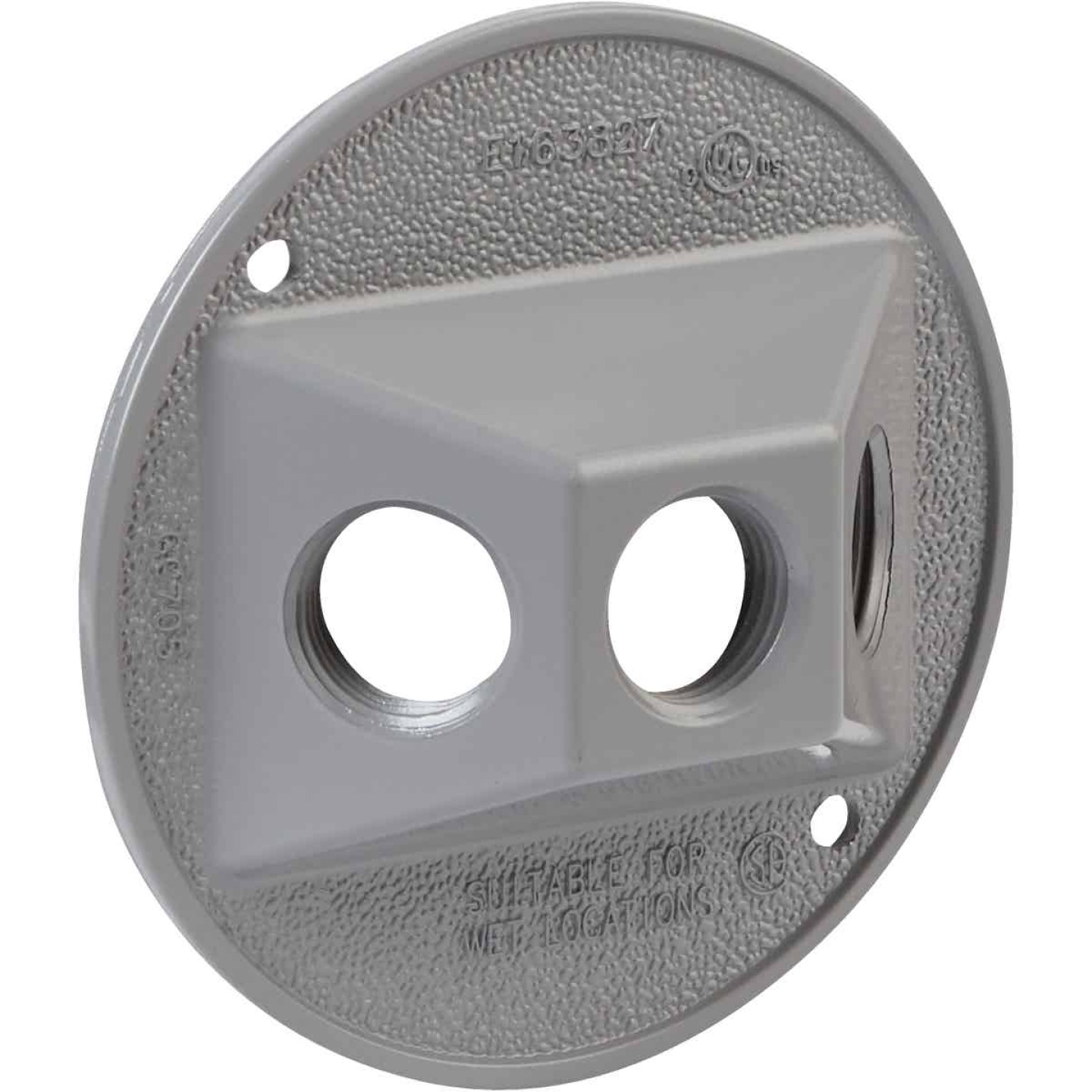 Bell 3-Outlet Round Zinc Gray Cluster Weatherproof Outdoor Box Cover, Carded Image 3