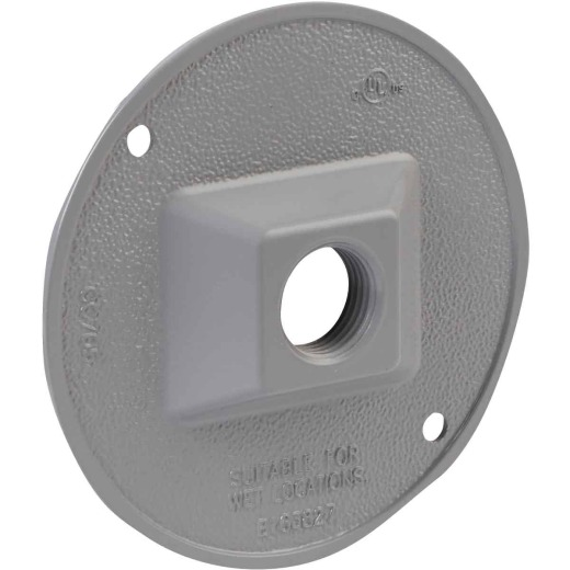 Bell 1-Outlet Round Zing Gray Cluster Outdoor Box Cover, Shrink Wrapped