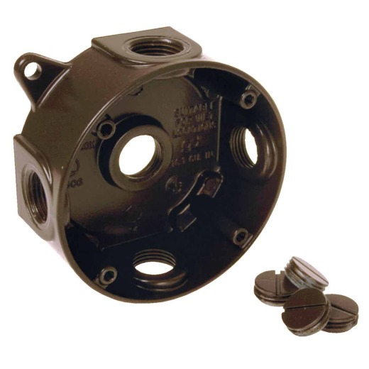 Bell 4 In. 5-Outlet 1/2 In. Bronze Weatherproof Outdoor Round Box, Shrink Wrapped