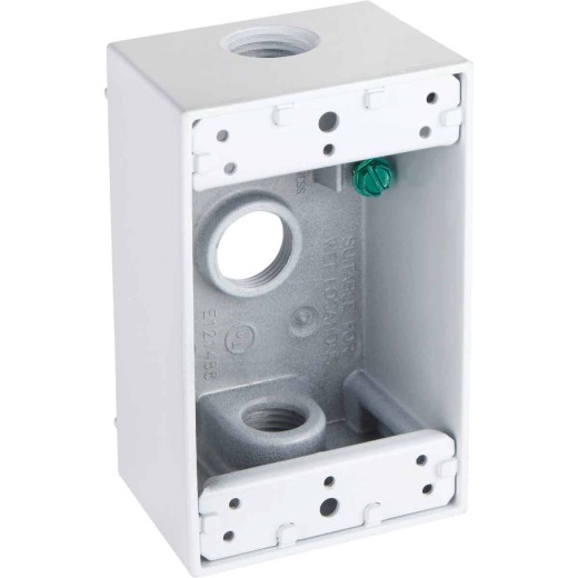 Bell Single-Gang 1/2 In. 3-Outlet White Aluminum Weatherproof Outdoor Outlet Box, Shrink Wrapped