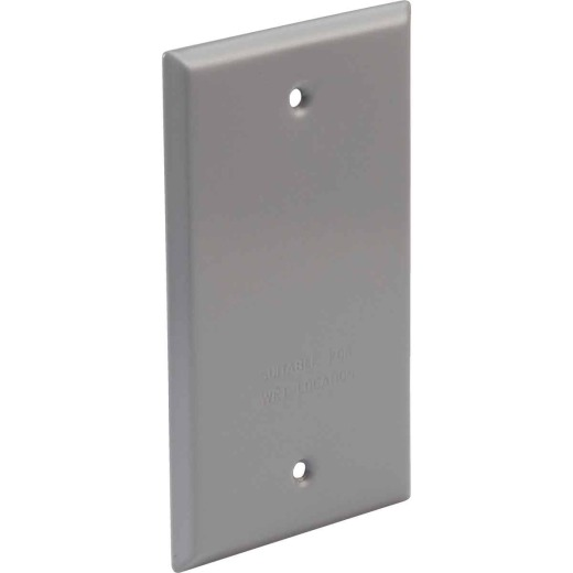 Bell Single Gang Rectangular Aluminum Gray Blank Weatherproof Outdoor Box Cover, Shrink Wrapped