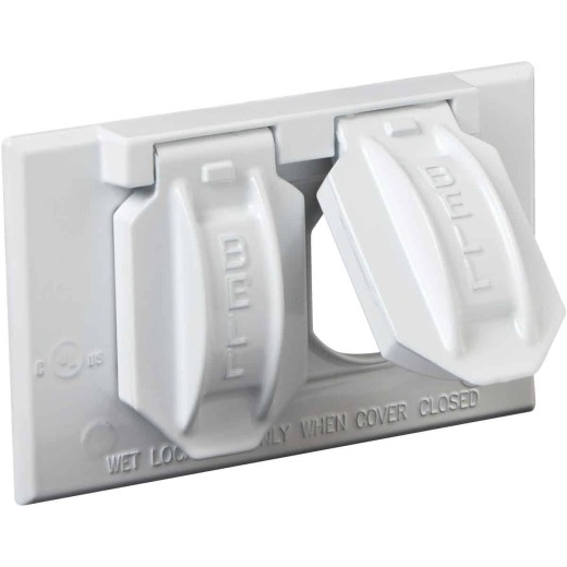 Bell Horizontal Mount Duplex Aluminum White Weatherproof Outdoor Outlet Cover