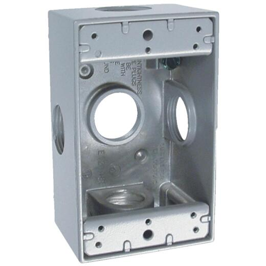 Bell Single Gang 3/4 In. 5-Outlet Gray Aluminum Weatherproof Outdoor Outlet Box